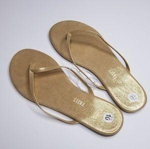 NEW   TKEES   Gold Flip-Flops